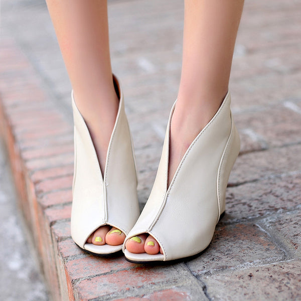 Peep Toe Women High Heel Wedge Sandals Shoes 8591