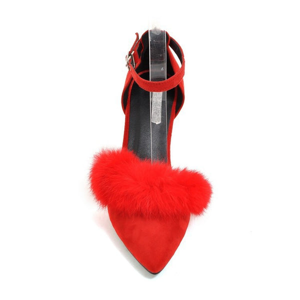 Pointed Toe Ankle Strap Fur Sandals Chunky Heels Shoes Woman 8645