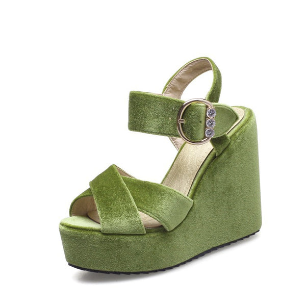 Velvet Women Platform Sandals Wedge Heels Shoes for Summer 4285
