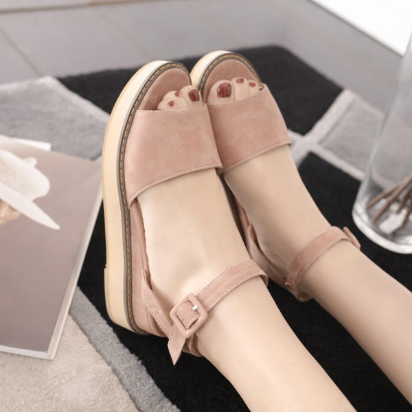 Peep Toe Women Sandals Platform Wedge Heels Shoes for Summer 6671