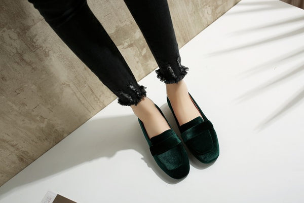 Square Toe Velvet Women Flat Shoes 4933