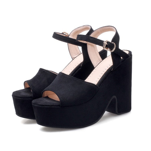 Ankle Straps Women Platform Sandals Chunky Heels Shoes for Summer 5805