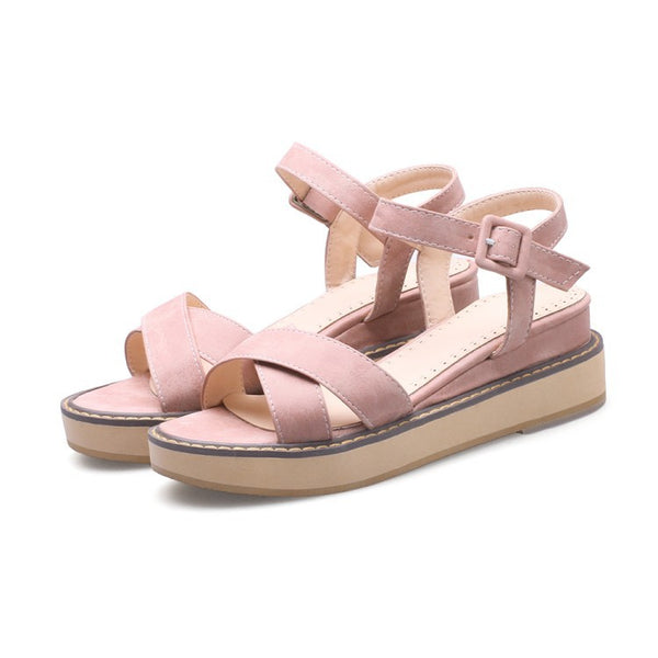 Flock Women Platform Sandals Wedge Heels Shoes for Summer 5476