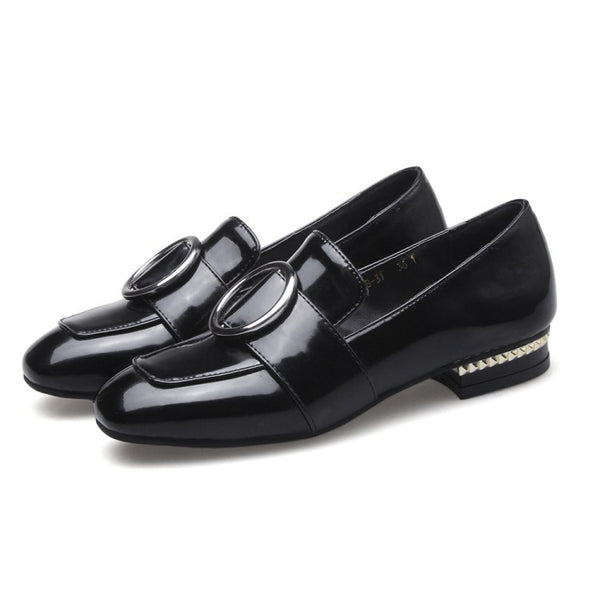 Buckle Square Toe Loafers Women Flat Shoes 8651