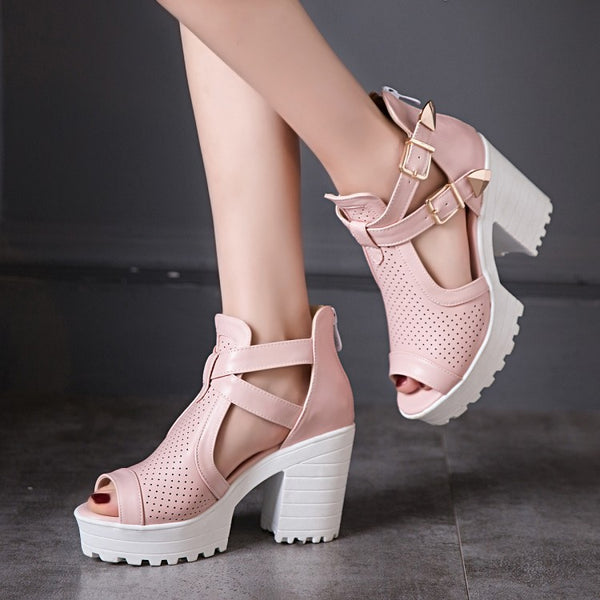 Women's Straps Buckle Platform Sandals Chunky High Heels Shoes 2383