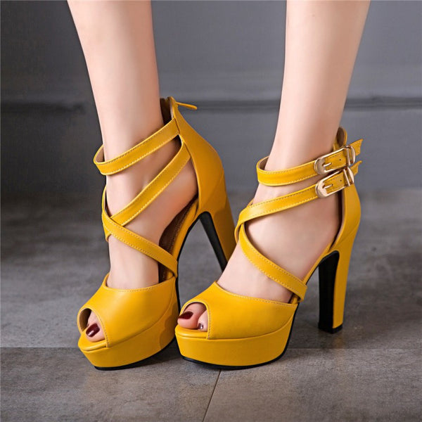 Cross Strap Peep Toe Platform Sandals High Heels Shoes Woman 9887