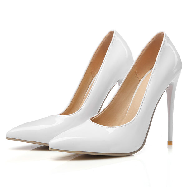Pointed Toe Patent Leather Pumps Women Stiletto High Heels Shoes 3858