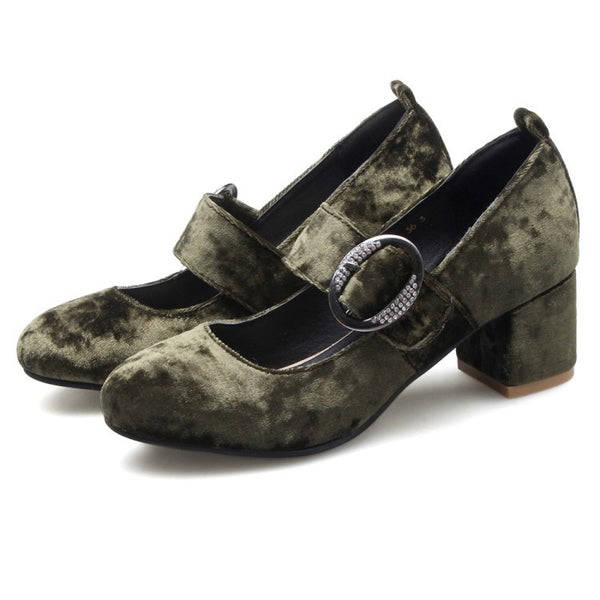Pleuche Mary Janes  Women Heels Dress Shoes 8184