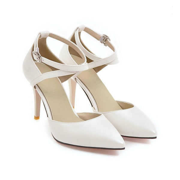 Pointed Toe Ankle Strap Stiletto High Heels Sandals Pumps Women Shoes 4680