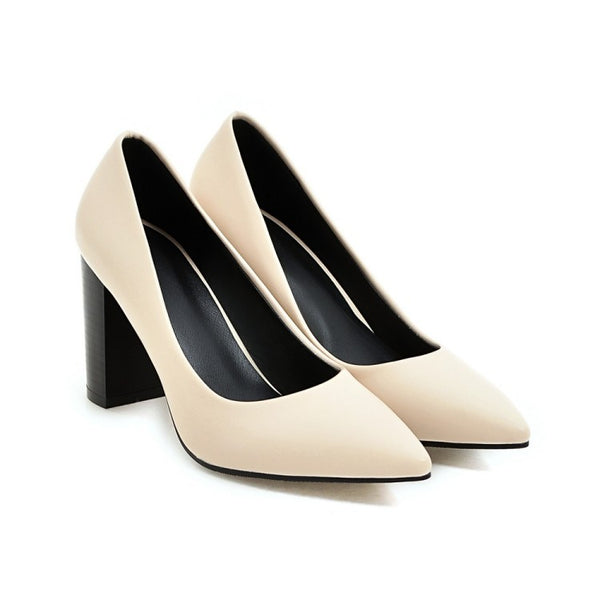 Pointed Toe Chunky Heel Pumps Women High Heels Shoes 6016