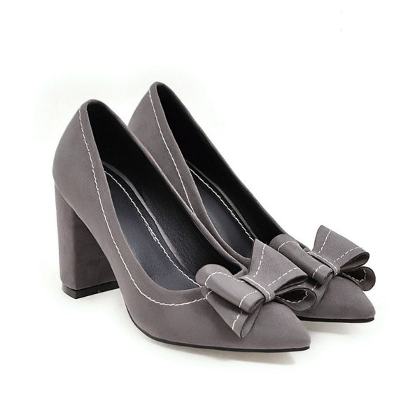 Pointed Toe Bow Tie High Heeled Shoes Chunky Heel for Women 3422