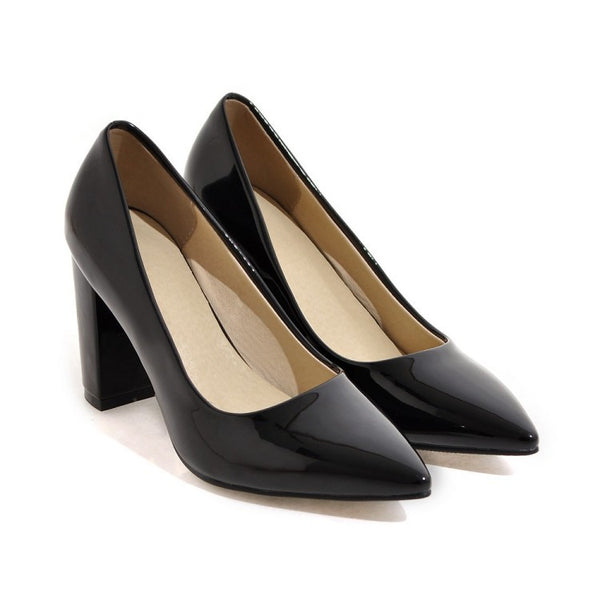 Pointed Toe Chunky Heel Pumps Women High Heels Shoes 8259