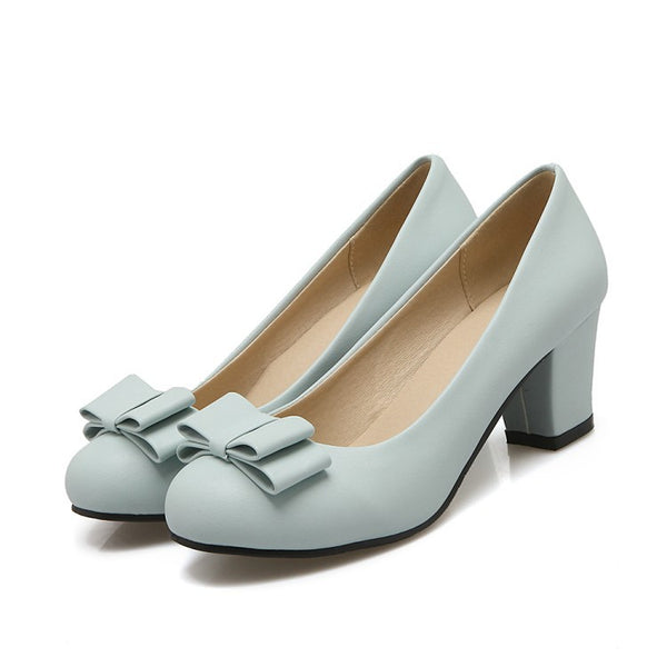 Bow Tie High Heeled Chunky Heel Shoes for Women 1128