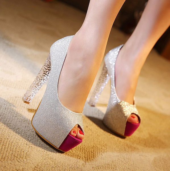 Suede Peep Toe Platform Pumps High Heels 8499
