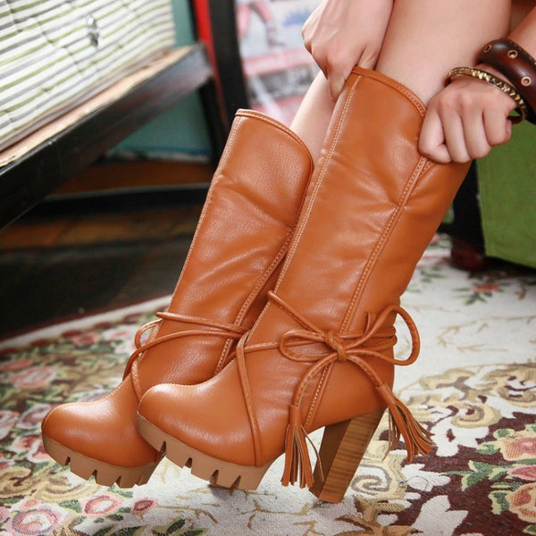 Cross Straps High Heel Motorcycle Boots 8197