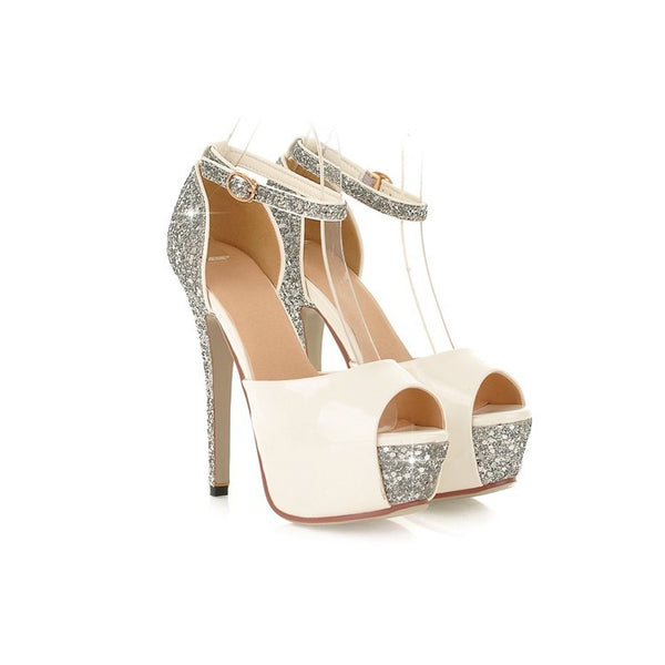 Women's Ankle Straps Sequined Peep Toe Platform Sandals High Heels Shoes 8219