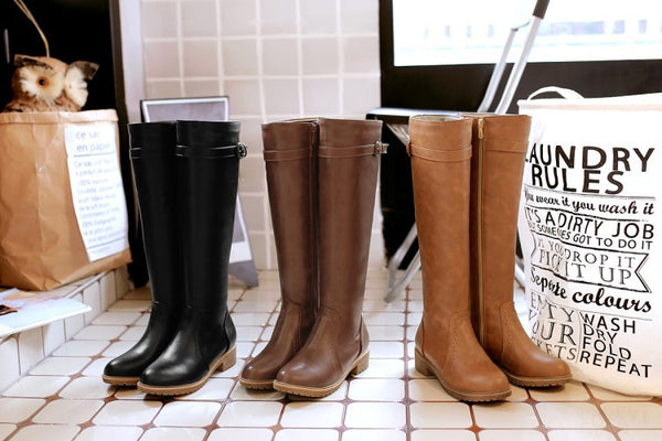 Belt Buckle Tall Motorcycle Boots Low Heeled Shoes for Women 5883