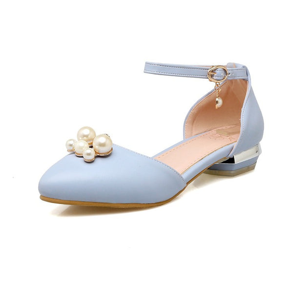 Ankle Strap Pearl Toe Covered Women Flat Shoes 1941