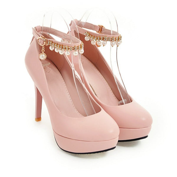 Pearl Ankle Straps Platform High Heel Shoes Woman 1026