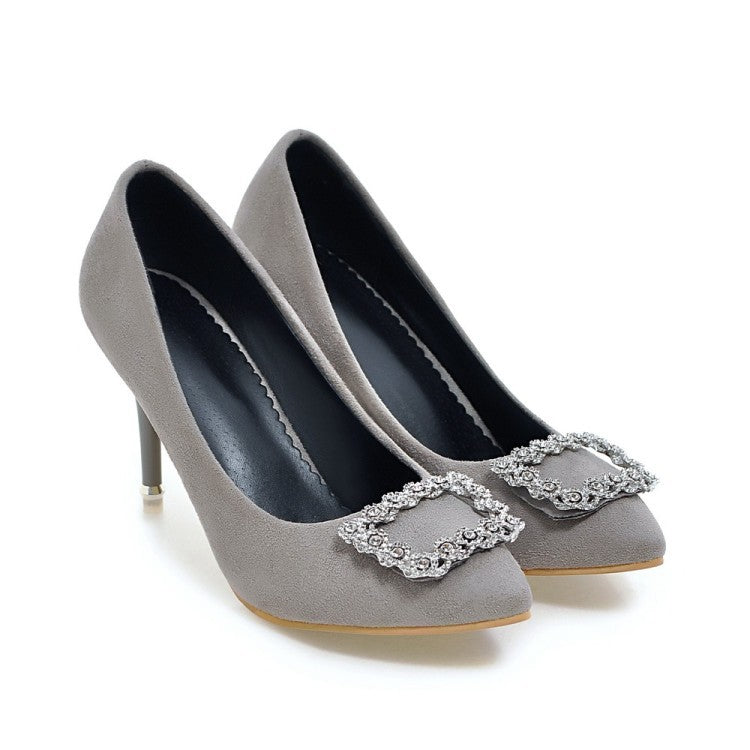 Pointed Toe Rhinestone Pumps Women High Heels Wedding Shoes 3512