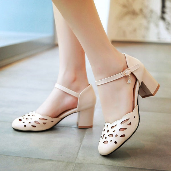 Ankle Strap Sandals Chunky Heels Shoes Woman 8854
