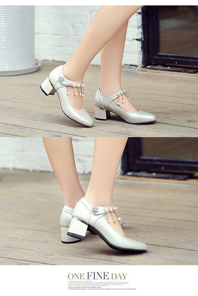 Rhinestone Tassel Women Heels Dress Shoes 9202