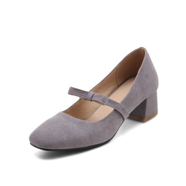 Bow Tie Suede Mid Heel Shoes for Women 6968
