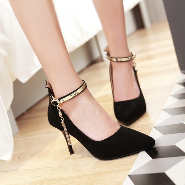 Pointed Toe Tassel Pumps Women Ankle Straps Stiletto High Heels Shoes 5005