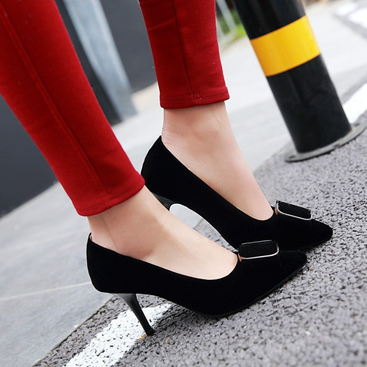 Pointed Toe Suede Pumps Women Stiletto High Heels Shoes 1070