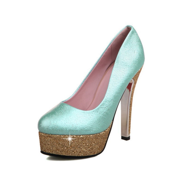 Women's Sequin Ankle Strap High Heel Platform Pumps Shoes 4885