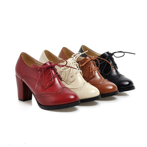 Pointed Toe Lace Up Chunky High Heels Women Shoes 9700