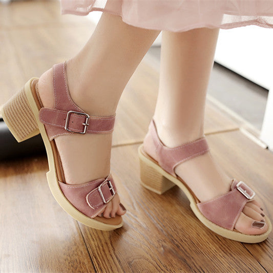 Buckle Platform Sandals Chunky Heels Shoes Woman 6843