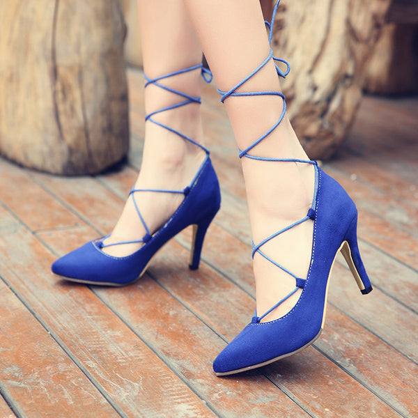 Pointed Toe Leopard Print Strappy Pumps Women Stiletto High Heels Shoes 5878