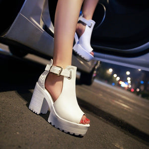 Ankle Strap Open Toe Platform Sandals Chunky High Heels Shoes Woman 6765