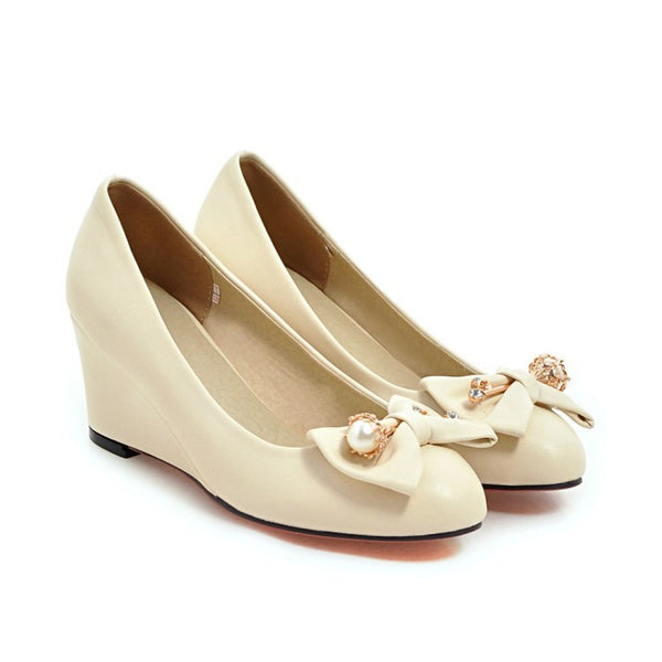 Pearl Bow Tie Wedges Heels Shoes for Women 3492