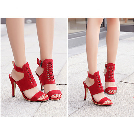 Ankle Strap Open Toe Flock Sandals High Heels Shoes Woman 1123
