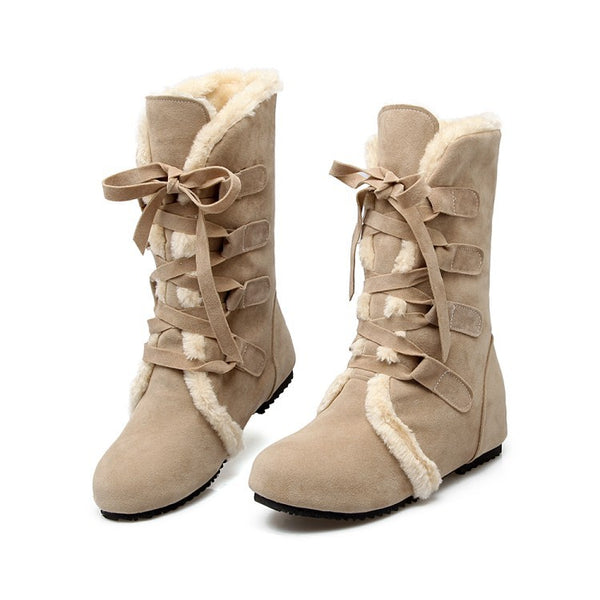 Lace Up Snow Boots Wedge Heel 4512