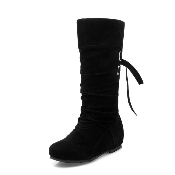 Straps Velvet Mid Calf Boots for Women 5920