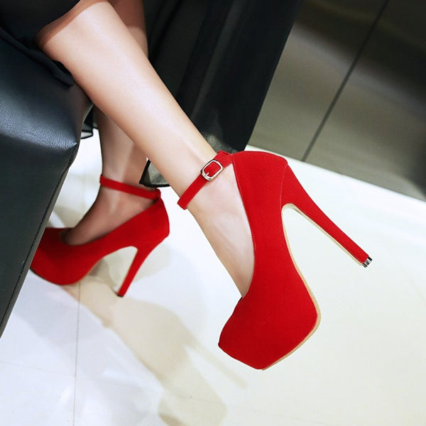 Ankle Strap Flock Platform High Heel Shoes Woman 8682