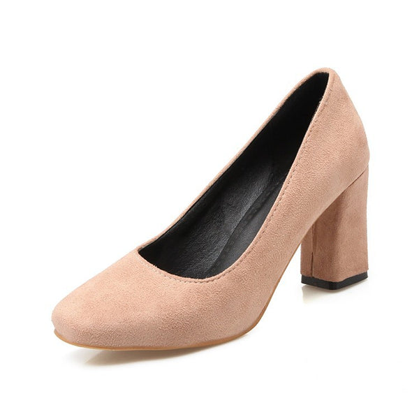 Square Toe Women's High Heel Chunky Pumps Shoes 7194