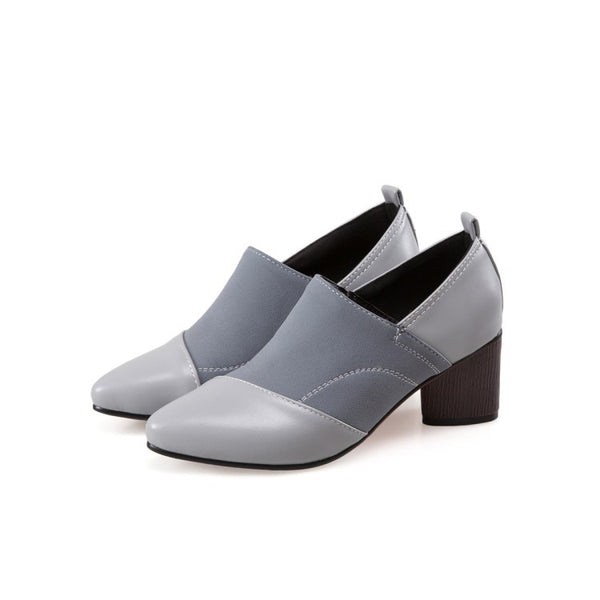 Pointed Toe Pu Leather Chunky High Heels Women Shoes 8044