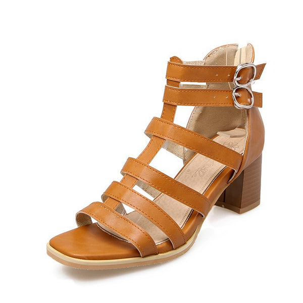 Ankle Strap Gladiator Sandals Chunky Heels Shoes Woman 8485