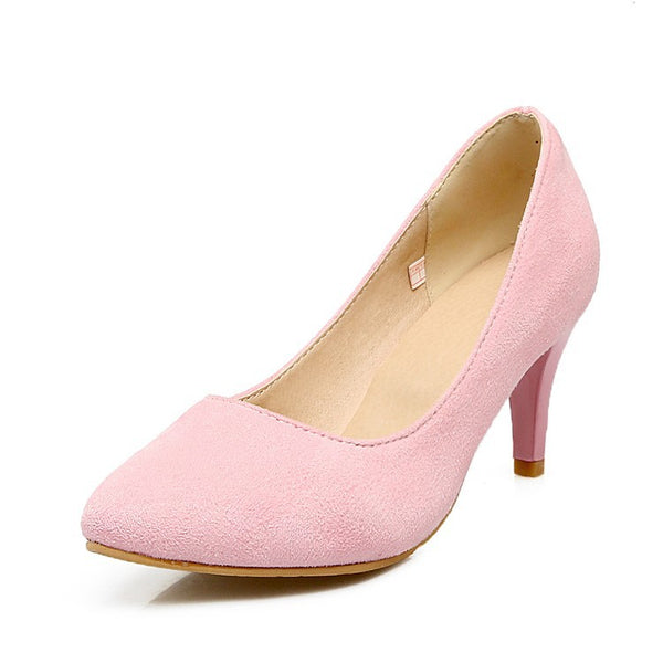 Pointed Toe Flock Pumps Women Stiletto High Heels Shoes 5999