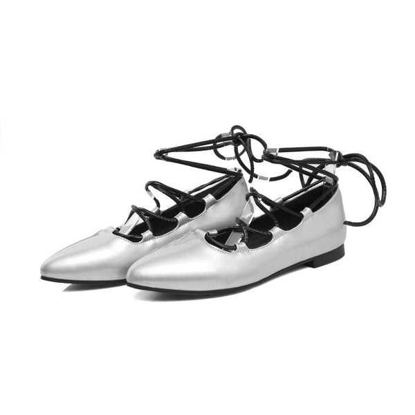 Pointed Toe Cross Straps Women Flat Shoes 6563