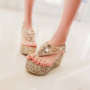 T Strap Rhinestone Women Sandals Wedge Heels Shoes for Summer 6261