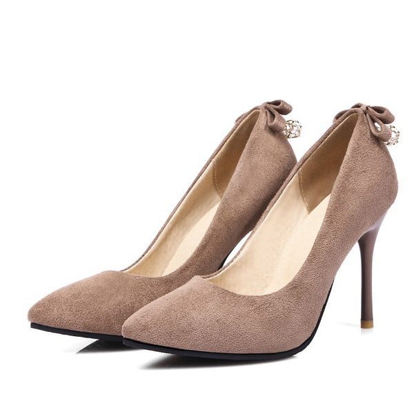 Pointed Toe Flock Pumps Women Stiletto High Heels Shoes 5000