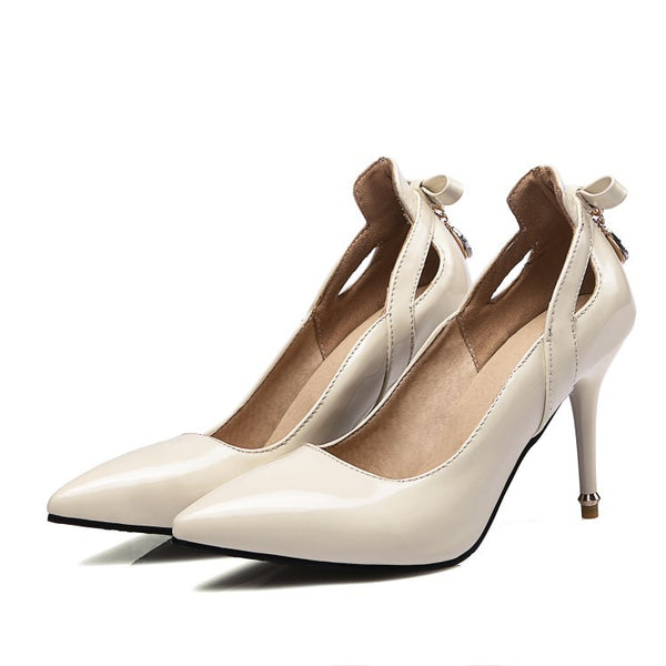 Pointed Toe Bow Pumps Women Stiletto High Heels Shoes 1720