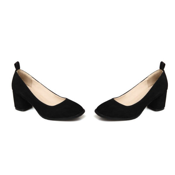 Women's Flock Chunky Heel Pumps Shoes 8344