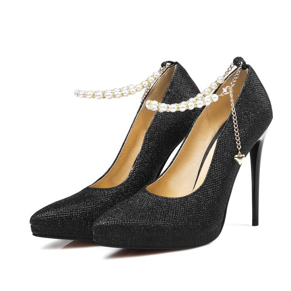 Pointed Toe Pearl Chain Pumps Women Stiletto High Heels Shoes 7314