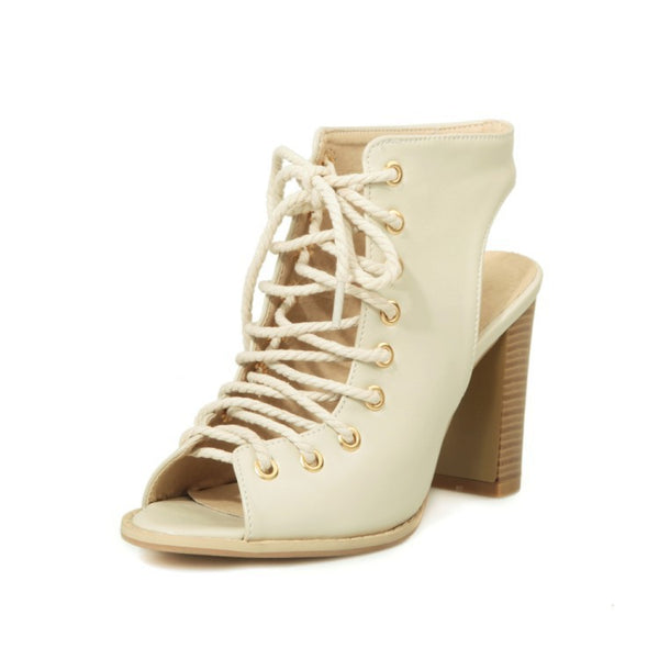 Women's Lace Up Chunky Heels Gladiator Sandals Dress Shoes for Summer 1209